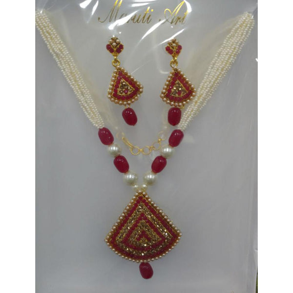 Tip Top Jewellers Gold Plated Red Austrian Stone And Necklace Set - TTJNECKLACE06