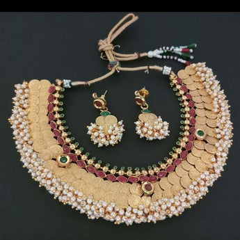 Sai Raj Copper Pearl Temple Coin Necklace Set - FAP0041B