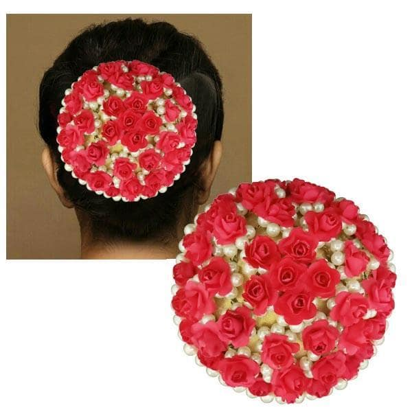 Apurva Pearls Red Floral Pearls Design Hair Brooch