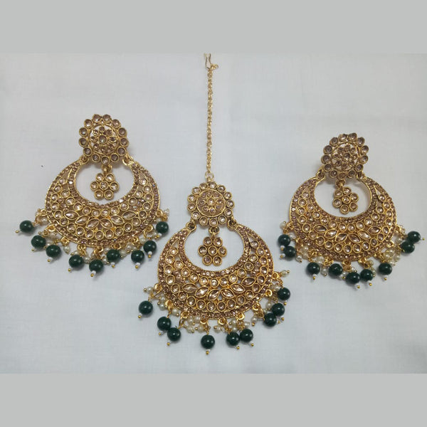 Jinu Arts Designer Green Austrain Stone Earrings With Maangtikka Set