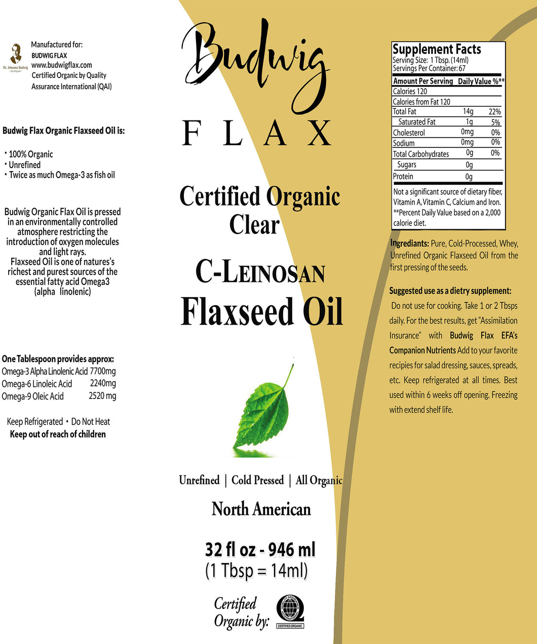 Budwig C-Leinosan Clear Flaxseed Oil 16 oz