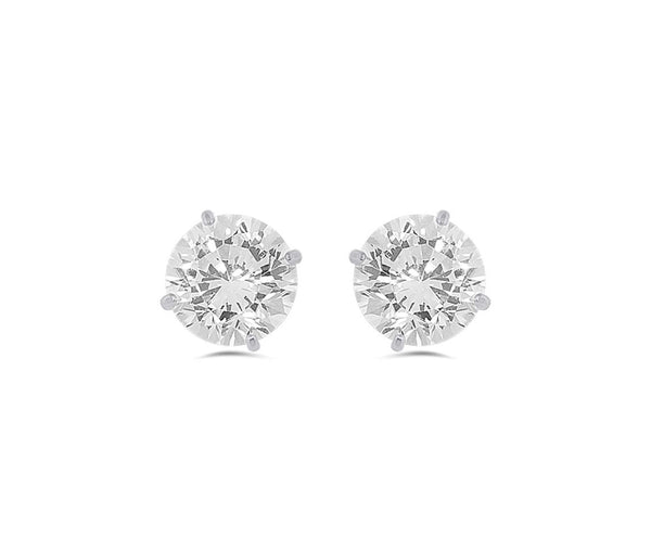 10K White Gold Round CZ Earrings