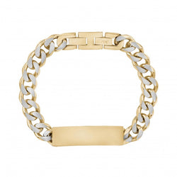 ARZ Steel 11mm Gold and Steel Cuban Link I.D. Bracelet