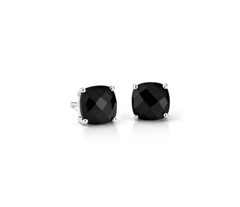 10K White Gold Black Round CZ Earrings