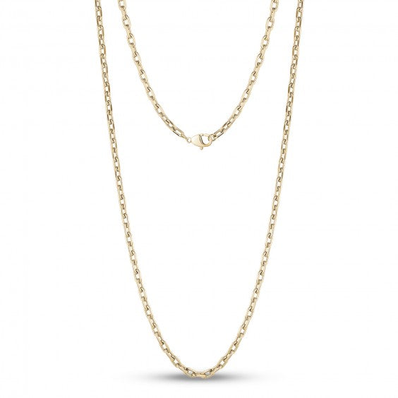 ARZ Steel 3.5mm Gold Steel Chain Link Necklace 24""