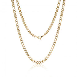 ARZ Men's 5mm Gold Steel Cuban Link Necklace 24""