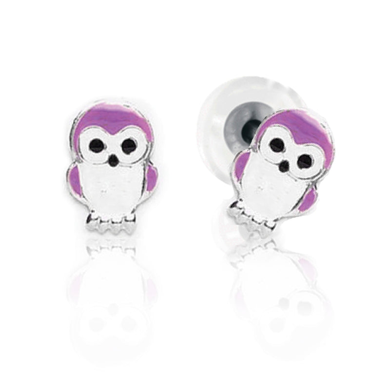 BFLY STERLING SILVER PURPLE OWL STUD EARRINGS