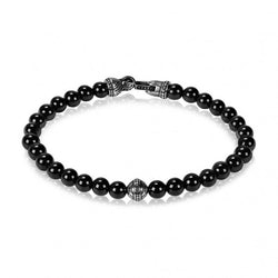 ARZ Men's 6mm Black Onyx Bead Bracelet