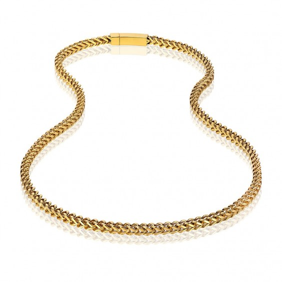ARZ Men's 6mm Gold Steel Franco Link Necklace