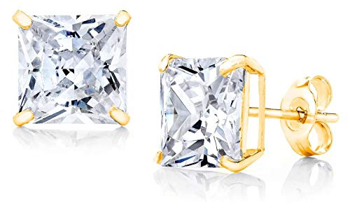 10k Yellow Gold Square CZ Earrings