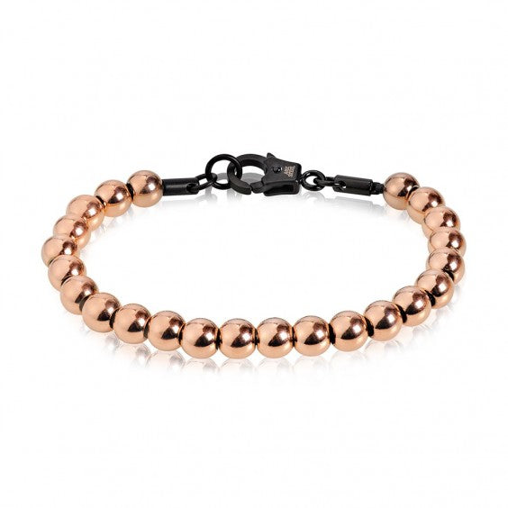ARZ Men's 7mm Rose Gold Bead Bracelet