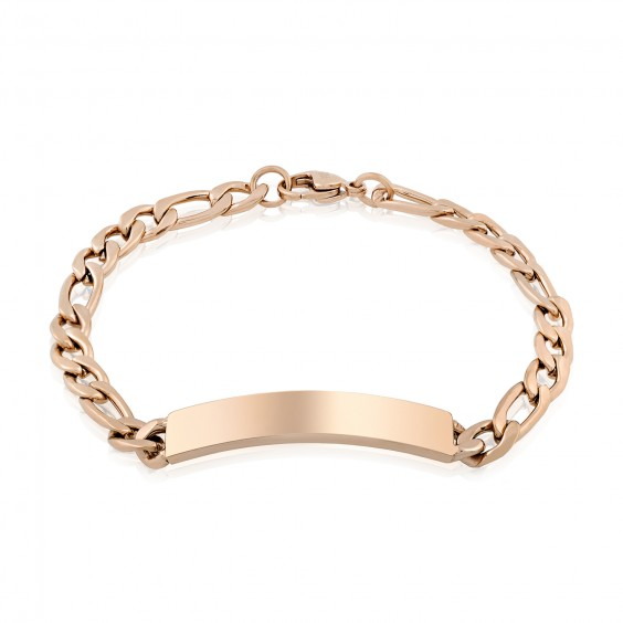 ARZ Men's 7mm Rose Gold Steel Figaro Link ID Bracelet