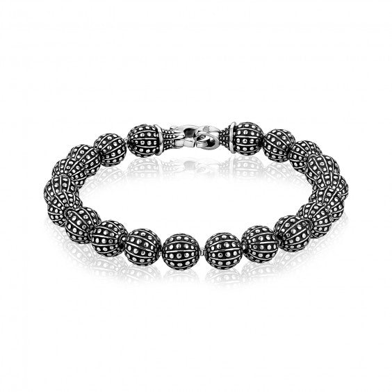 ARZ Men's 8mm Stainless Steel Detailed Bead Bracelet