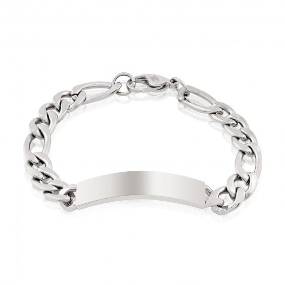 ARZ Men's 9mm Steel Figaro ID Bracelet