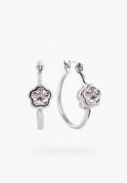 Bfly Sterling Silver CZ Flower Baby Huggies Earrings