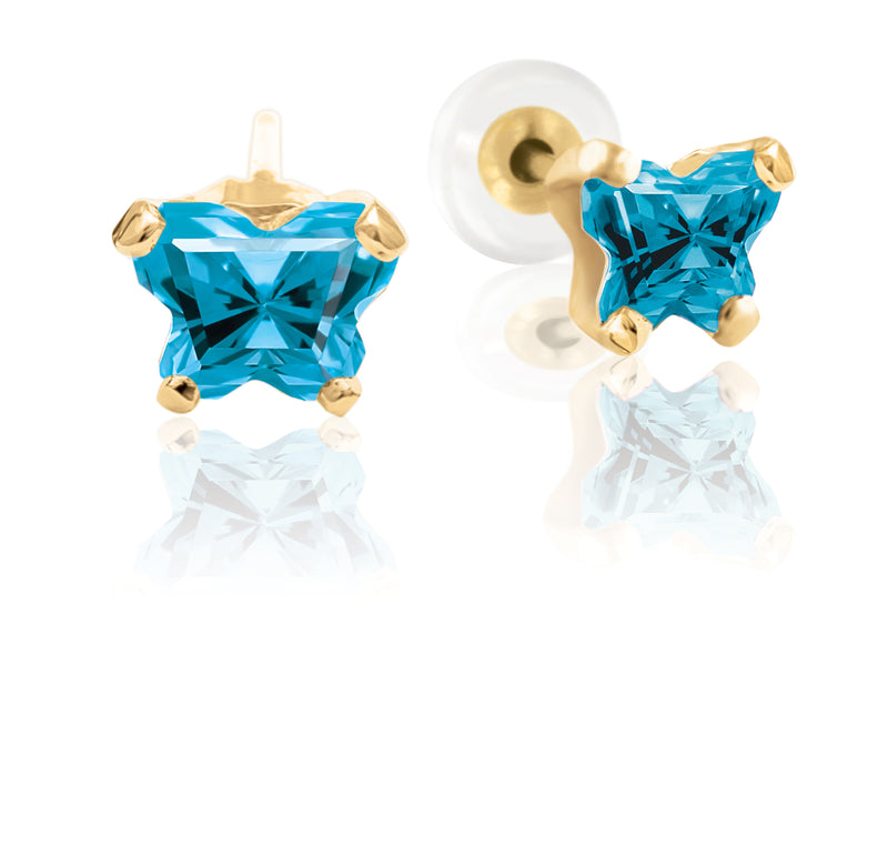 Bfly 10k Gold December Birthstone Turquoise CZ Butterfly Baby Earrings