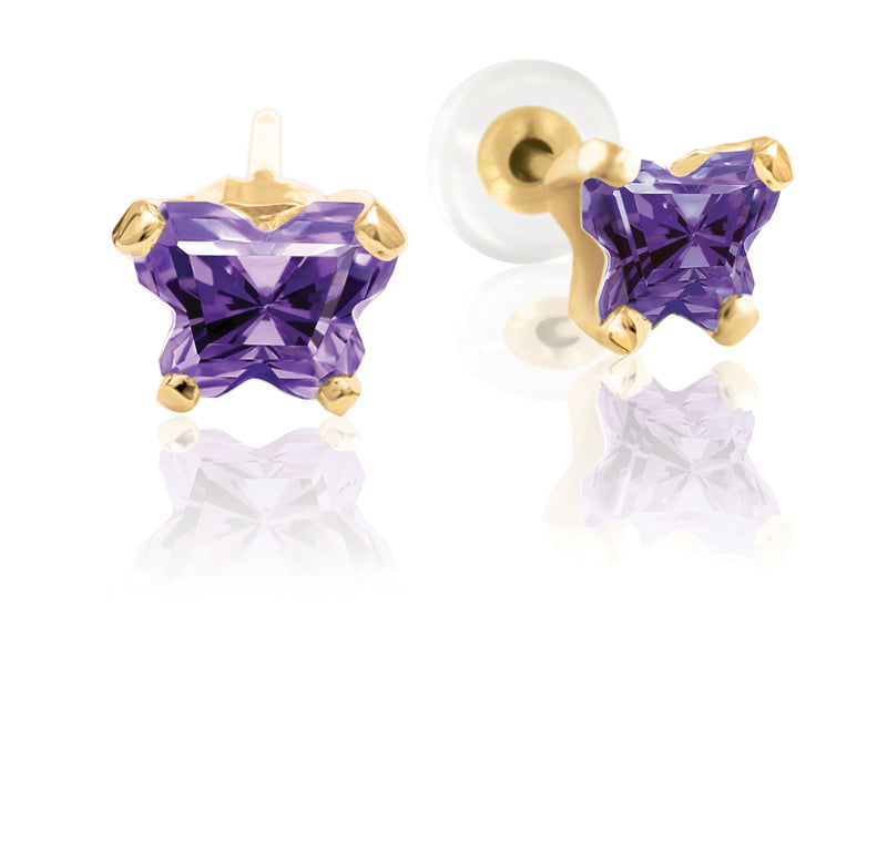 Bfly 10k Gold February Birthstone Purple CZ Butterfly Baby Earrings