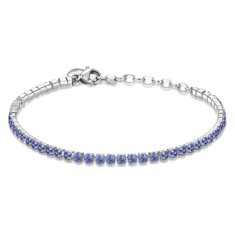 Desideri Women's Purple CZ Heart Tennis Bracelet