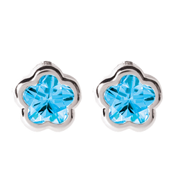 Bfly Sterling Silver Blue CZ Stone Baby Earrings
