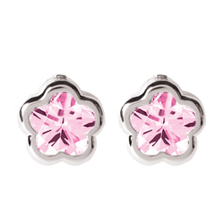 Bfly Sterling Silver Pink CZ Stone Baby Earrings