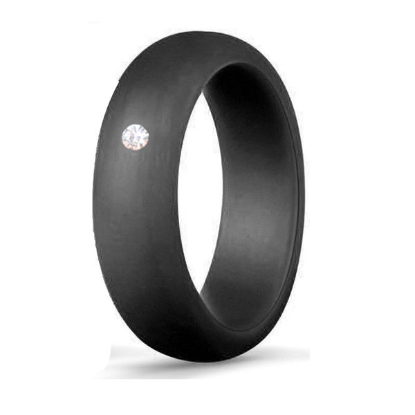 Italgem Women's CZ Black Silicone Ring