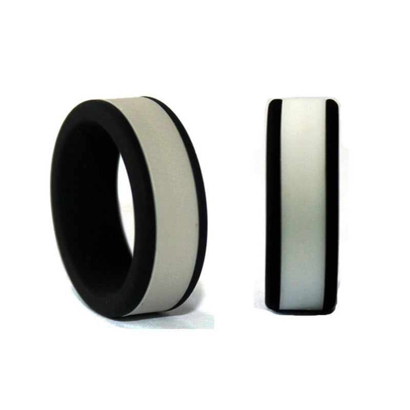Italgem Men's Black-Gray Silicone Ring