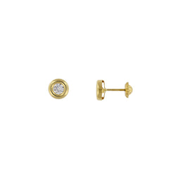 Bfly 10k Gold CZ Stone Stud Earrings