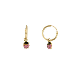 Bfly 10k Gold Ladybug Enamel Hoop Baby Earrings