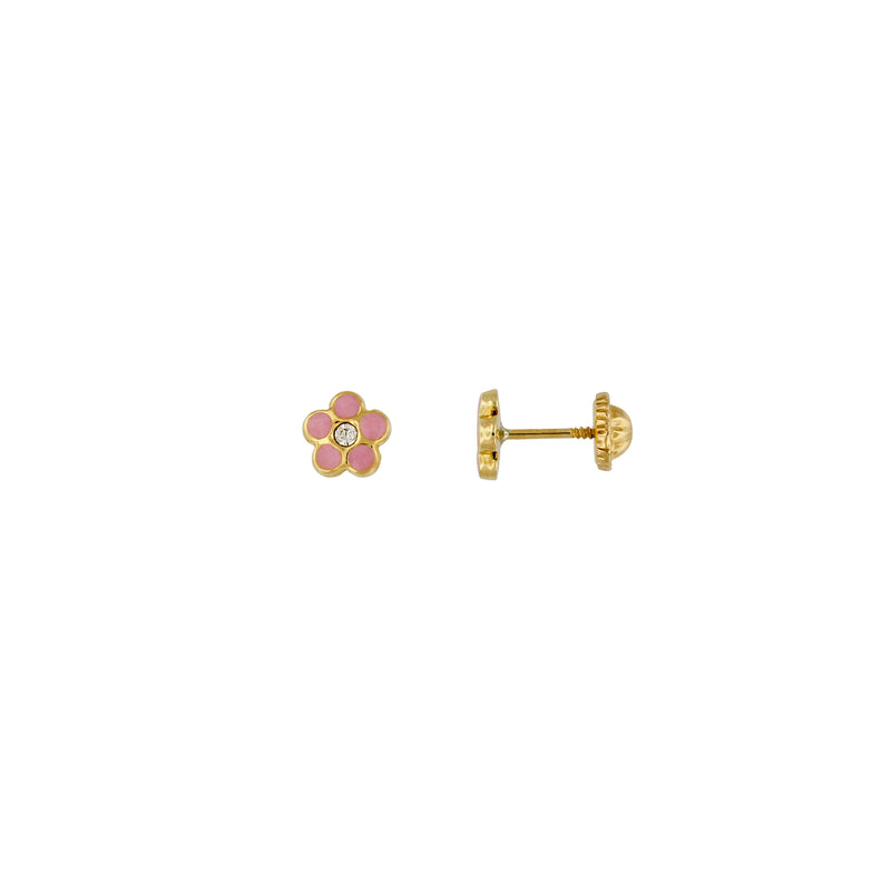 Bfly 10k Gold Pink Flower Enamel Baby Earrings