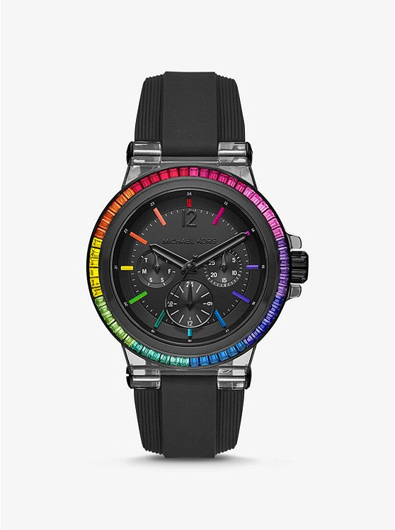 Michael Kors Women's Oversized Dylan Rainbow Pavé and Silicone Watch