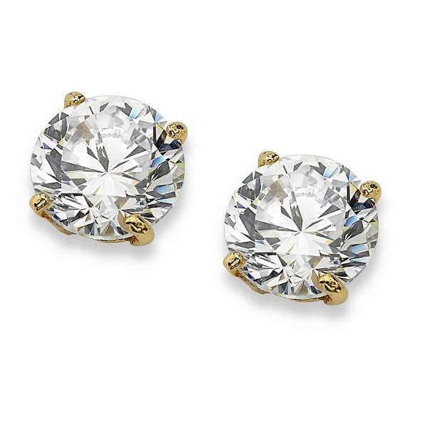 10K Yellow Gold Round CZ Earrings