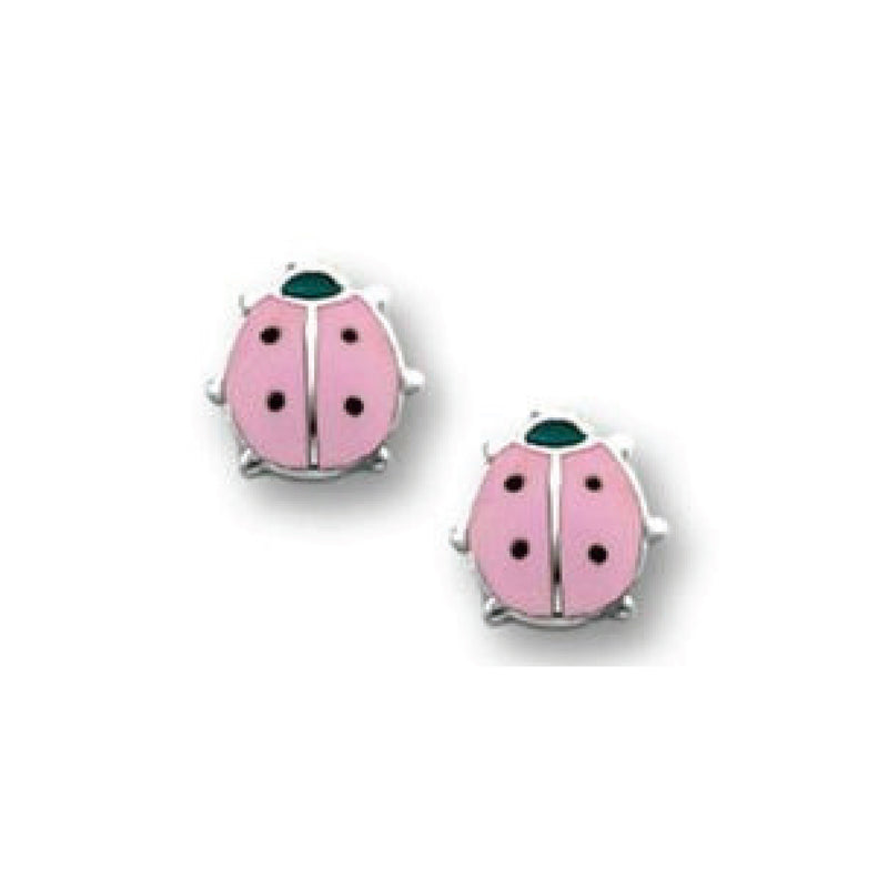 Bfly Sterling Silver Pink Ladybug Enamel Baby Earrings