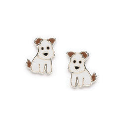 Bfly Sterling Silver Dog Enamel Baby Earrings