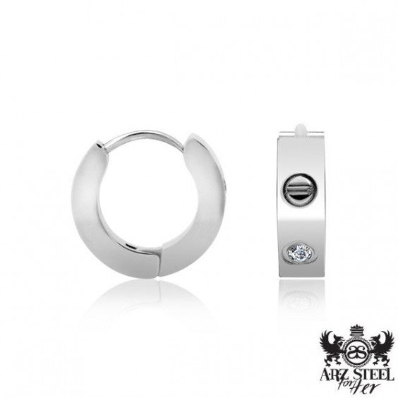 ARZ Steel Huggies Earrings