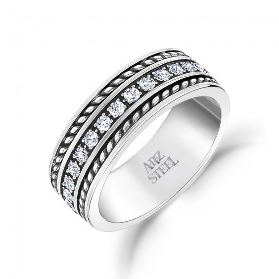 ARZ Men's Steel White Stones Ring