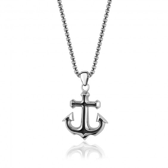 "ARZ Men's Black & Steel Anchor Pendant W/ 26"" Chain"