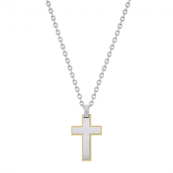 "ARZ Men's Gold Steel Cross Pendant W/ 24""+2"" Chain"