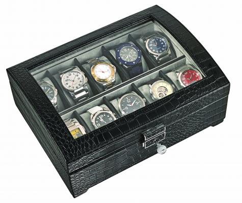 Alpine Leatherette Watch box with Window - 10 watches