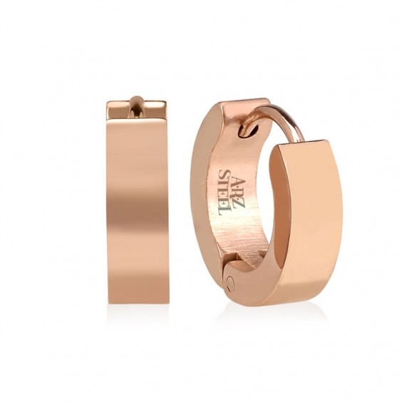 ARZ Rose Gold Steel Huggies Earrings