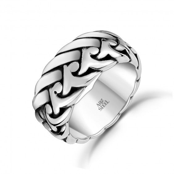 ARZ Men's Stainless Steel Detailed Ring