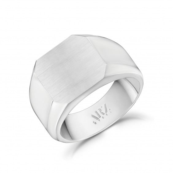 ARZ Men's Stainless Steel Matte Signet Ring
