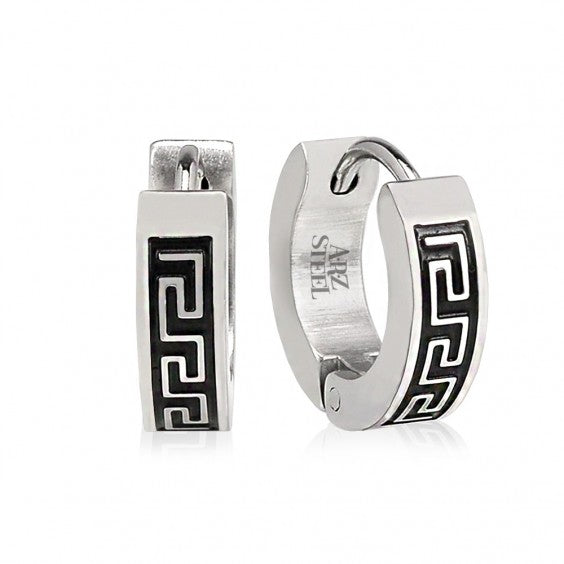 ARZ Steel Greek Key Huggies