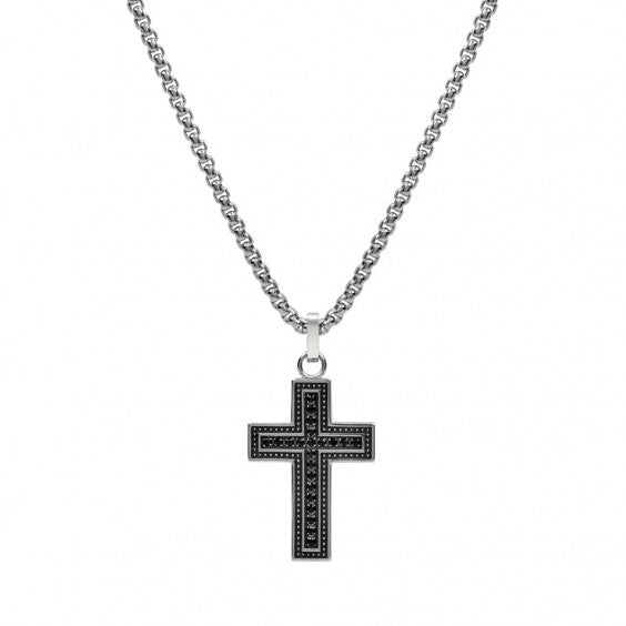 "ARZ Men's Stone Setting Cross Pendant W/ 28"" Chain"