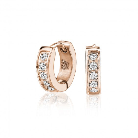 ARZ Stone Setting Rose Gold Steel Earrings