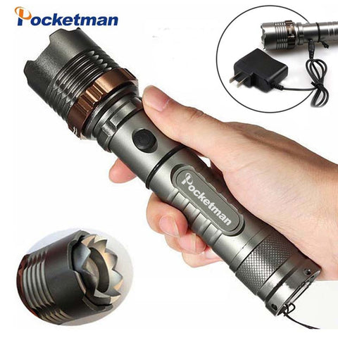 8000lm  T6 LED Flashlight Rechargeable Torch