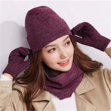 3 Pieces Winter Hat Scarf And Gloves Sets