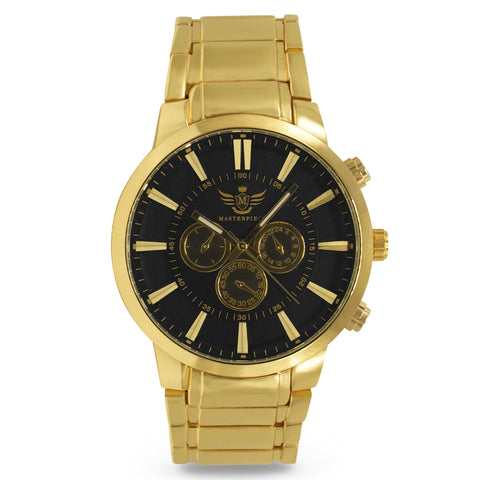 Gold 3-subdial Executive Classic Mens Watch