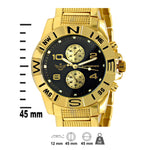 Gold Compass Bezel Executive Classic Mens Watch
