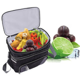 Double-layer Cooler Bag and Ice Pack Lunch Container with Zipper Shoulder Straps