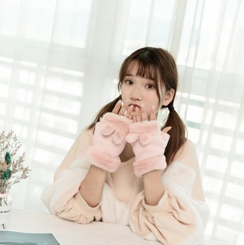 Rabbit ears ladies gloves